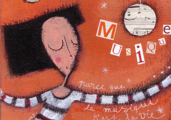 » Musique !! » : Illustration sur carton toilé