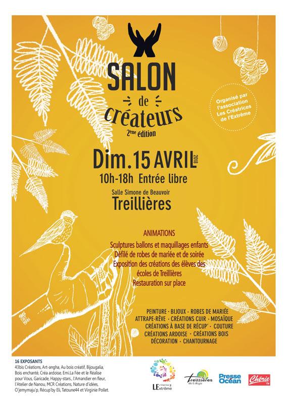 2ème édition du Salon de Créateurs qui se déroulera le dimanche 15 avril de 10h à 18h à la Salle Simone de Beauvoir de Treillières.