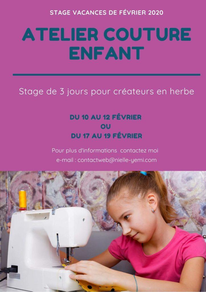 Stage couture enfant vacances de Février 2020 Mennecy en Essonne